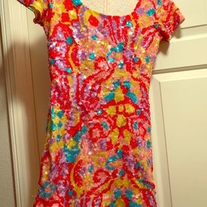 Custom made -Cap sleeve multi colored sequin dress
